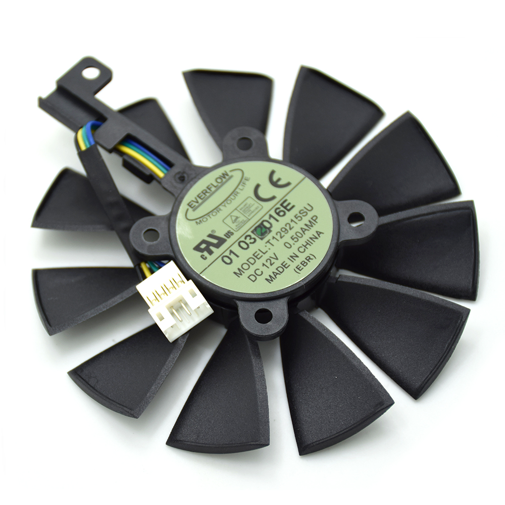 New 87MM Everflow T129215SU DC 12V 0.50AMP 4Pin 4 Wire Cooling Fan For ASUS GTX980Ti R9 390X 390 GTX1070 Graphics Card Fans free delivery t129215su 12v graphics card cooling fan 0 50a pair of fans