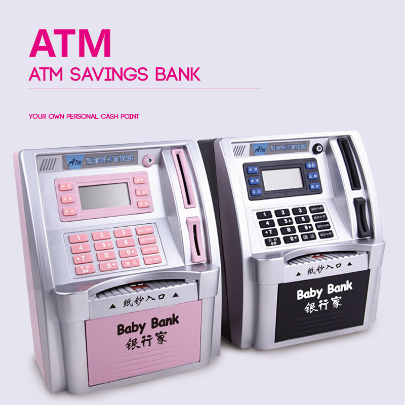 Simulation ATM Saving Banks Children Kids ATM Piggy Bank ATM Money Safe Box with LCD Screen