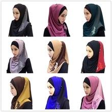 Chiffon Fashion Patchwork Convenient Muslim Lace Floral Embroidery Hijab Islamic Warp Headwear