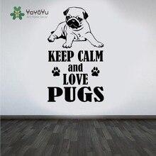Pug Dog Wall Decal Keep Calm and Love Pugs DIY Art Sticker Animal Cute Pet Mural Home Decor NY-39