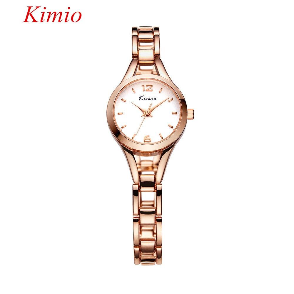 ФОТО Kimio Fashion Ladies Quartz Wristwatch Full Steel Rose Gold Skeleton Bracelet Watch for women Top Luxury Brand Waterproof Clock
