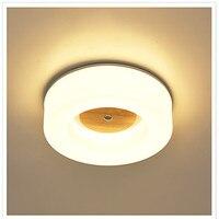 יומני נורדי פשוט מודרני מנורת תקרת LED סלון אקריליק עגול קפה מחקר מרפסת חדר שינה אור עץ מלא משלוח חינם