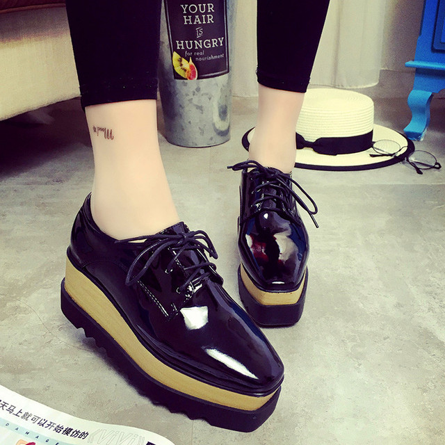 2016 Spring Oxfords Shoes For Women Platform Lace Up Creepers Women's Oxfords Shoes Casual Ladies Flats Shoes Loafers Black