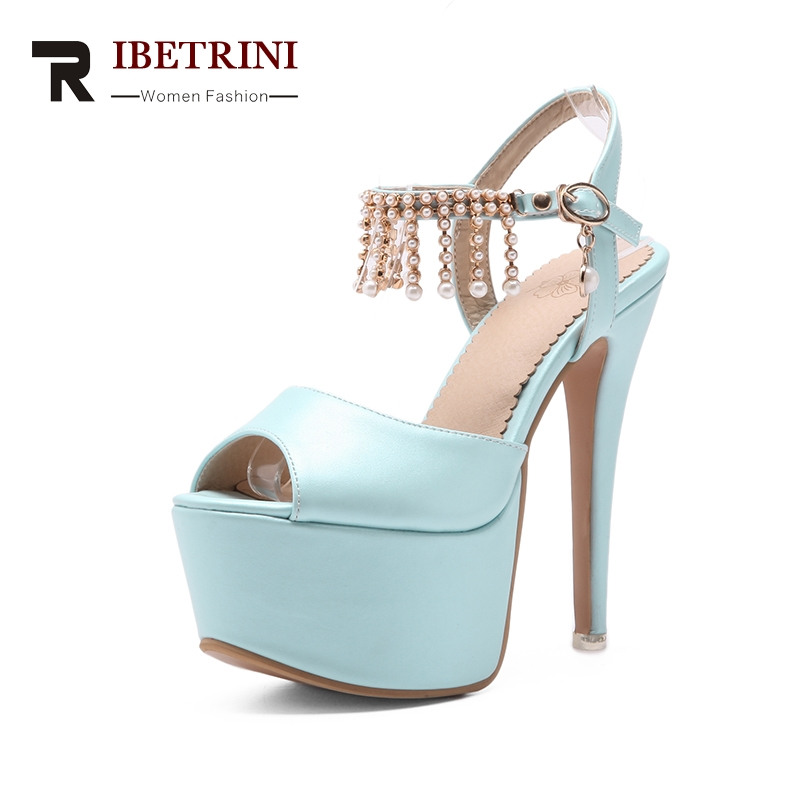 RIBETRINI 2018 Genuine Leather Large Size 33-48 Buckle Strap Thin High Heels Peep Toe Shoes Woman Platform Party Wedding Pump lapolaka 2018 high quality large size 33 48 slip on thin high heels peep toe shoes woman platform party wedding pump