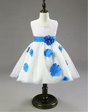 Мода свадебное платье девушки цветка, Детская одежда для девочек на день рождения ну вечеринку цветок костюмы, 5 цветов, Высокое качество