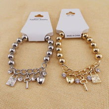 Gold/Silver 2 Color Alloy Charm Brecelets Key Lock Heart Shaped Beaded Bracelet Bangle Cut Jewelry for Women Factory Wholesale