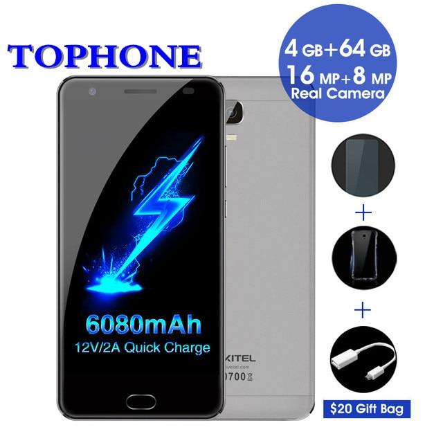 Oukitel K6000 Plus RAM 4 gb ROM 64 gb mobile téléphone Android 7.0 MTK6750T Octa base téléphone portable 5.5 FHD 6080 mah 4g 16.0MP Smartphone
