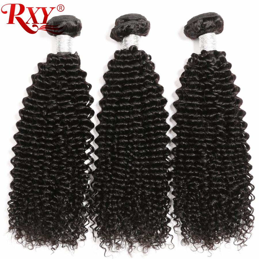 Afro Kinky Curly Hair Bundles 3stk lot Brazilian Hair Weave Bundles RXY Remy Human Hair Bundles Väver 10-28 No Tangle & Shedding