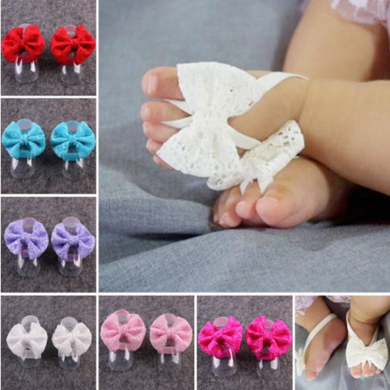 Infant Baby Shoes Mini Flower Foot Crib Foot Anklet Lace Bowknot Chain Accessories For Child Sandals