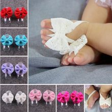 Infant Baby Shoes Mini Flower Foot Crib Foot Anklet Lace Bowknot Chain Accessories For Child Sandals(China)