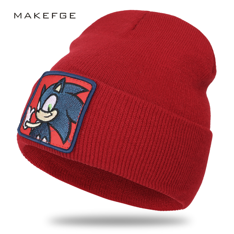 New winter embroidery a cotton cap men's and women's thick knit hat size adjustable cartoon Sonic hat casual   beanie   warm hat