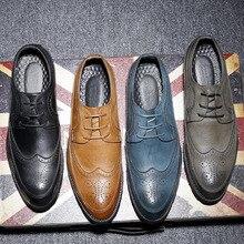 Fashion Mens Oxfords Vintage Dress Shoes Bussiness Wedding Party Shoe Black Man Size 45 46 47 48 men0007