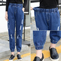2016 New Fashion Haren Jeans Women Loose Jeans Pants Broken Holes Elastic Waist Pants Women