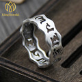 2017 New Arrival Jewelry silver six words mantra ring do old retro Thai silver ring male and female couple ring (USA Size)
