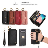 Luxury Zipper Clutch Detachable Magnetic Card Holder Leather Wallet Case for Samsung Galaxy S10 Lite S8 S9 Plus S7 Edge Note 8 9