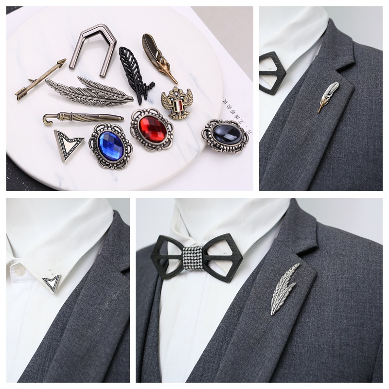 95e735e8cc1 i-Remiel Retro Men Eagle Claw Feather Leaf Brooch Pin Jewelry Men's Suit  Coat Lapel Pins Shirt Collar Accessories Music Gifts