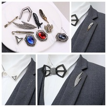 i-Remiel Retro Men Eagle Claw Feather Leaf Brooch Pin Jewelry Mens Suit Coat Lapel Pins Shirt Collar Accessories Music Gifts
