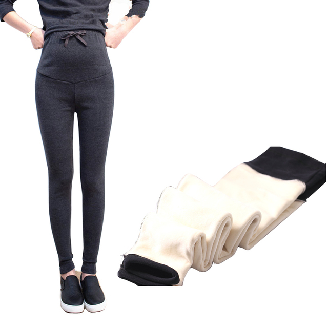 Pregnant Woman Pants Cotton Wool Double Thicken Abdominal Leggings Maternity Winter Clothes Velvet Warm
