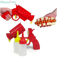 2 Cruets/Set Creative Pistol Revolver Seasoning Cans Salad Sauce Bottles Plastic Cement Kitchen Tool Barbecue Supplies
