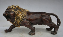 > Details about 12china fengshui bronze gilt evil Ferocious foo dog lion beast statue Sculpture