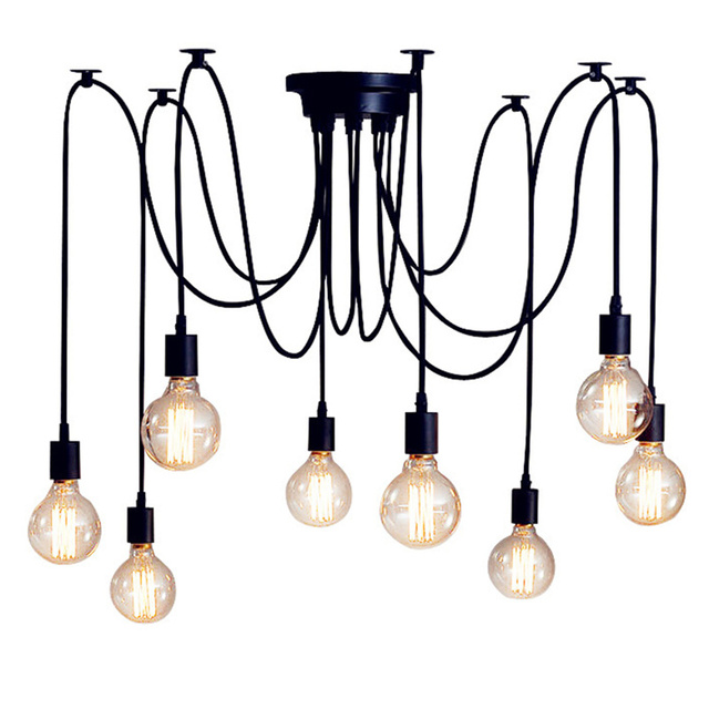 wongshi Vintage Black 6/8/10/14Heads Spider Pendant Lamp Adjustable DIY E27 Art Spider Pendant Lamp Home Lighting