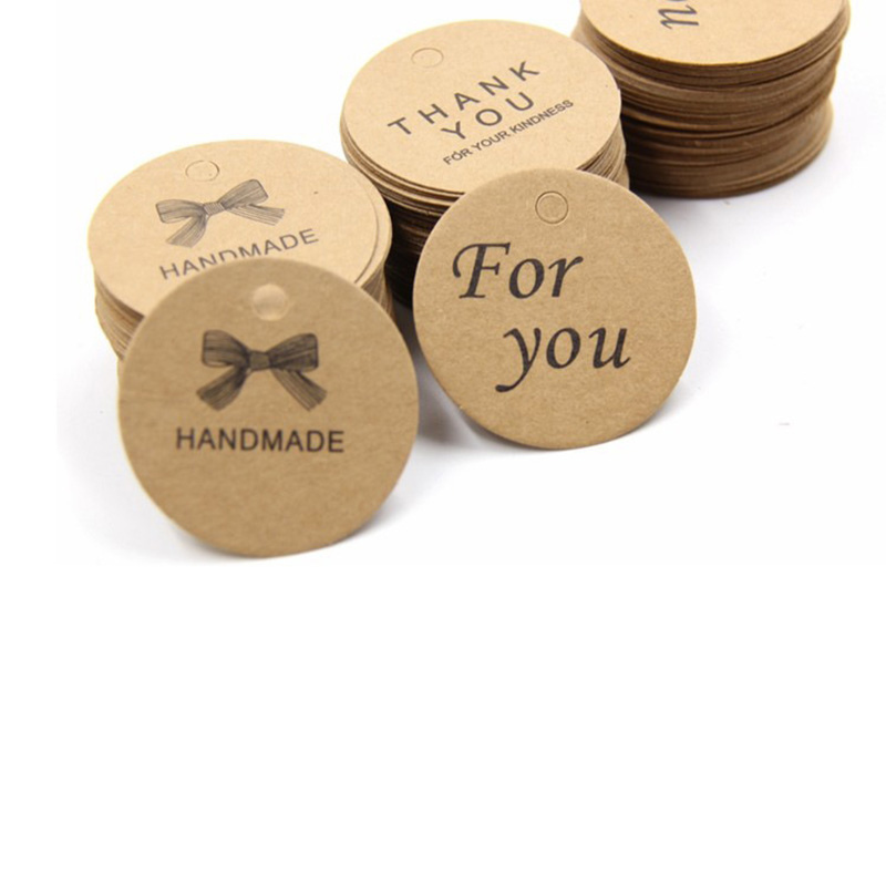 100Pcs DIY Craft Paper Tags Luggage Wedding Party Note Hang Tags Letters Print Label HG99