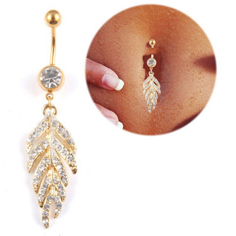HTB1jHc0QFXXXXa_XXXXq6xXFXXX6 Gold & Silver studded Leaf Feather Dangle Navel Stainless Belly Ring - 2 Colors