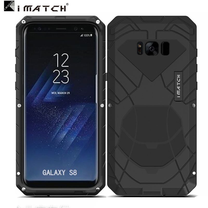 iMatch Water Resistant Shockproof Dust/Dirt/Snow-Proof Aluminum Metal Military Heavy Duty Armor Protection Case Cover for Samsung Galaxy S8 Plus & Galaxy S8