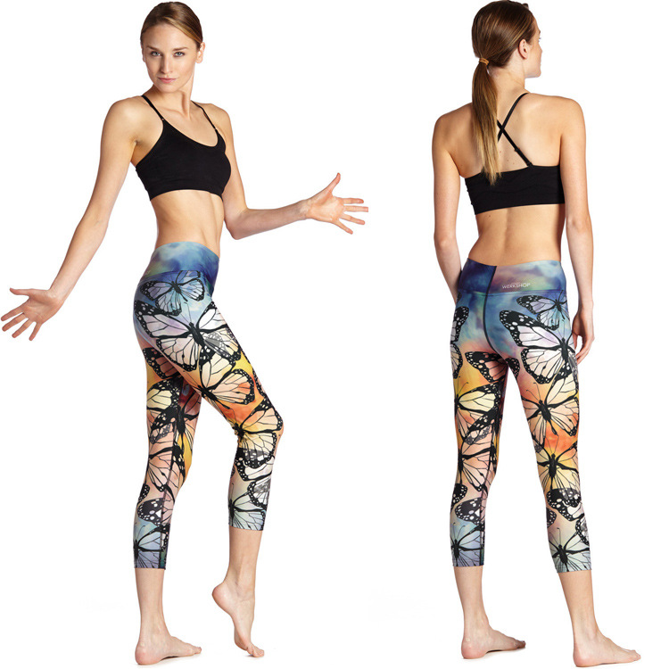 21f348be4f JIGERJOGER 2016 High waisted printed Yoga Capris three quarters Pant  Pharaoh Butterfly sublimation printed workout pant sports-in Running Socks  from Sports ...