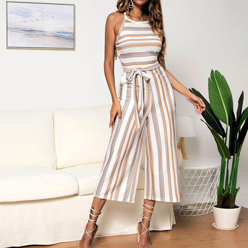 BBYES Hot Summer Holiday Womens Casual Playsuit Female Striped Sleeveless Strapless Ladies Wide Leg Crew Neck   Jumpsuit   Romper