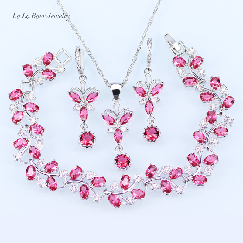 L&B Lady 925 silver jewelry sets Pink crystal white zircon Bracelet Necklace Pendant long Earrings Chain for women viennois new blue crystal fashion rhinestone pendant earrings ring bracelet and long necklace sets for women jewelry sets