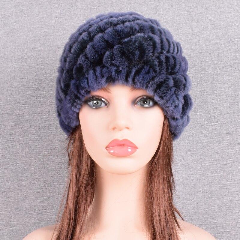 Raglaido Rabbit winter fur hat for Women Russian Real Fur Knitted Cap headgea Winter Warm Beanie Hats 2019 fashion brand LQ11279 46