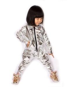 Image 3 - Spring Autumn Kids Silver bomber Jacket Stage Performance Wear paillette feminina casaco Hip Hop dance coat