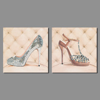 2016 Fashion New Promotion 2pcs Decoration Bling Heels Canvas Painting On Wall Hanging Combinat