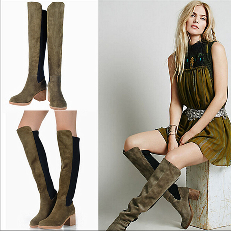 Genuine Leather High Heels Suede Boots Elastic Knee High Boots Female Warm Cotton Boots Autum Botas Femininas Sem Salto