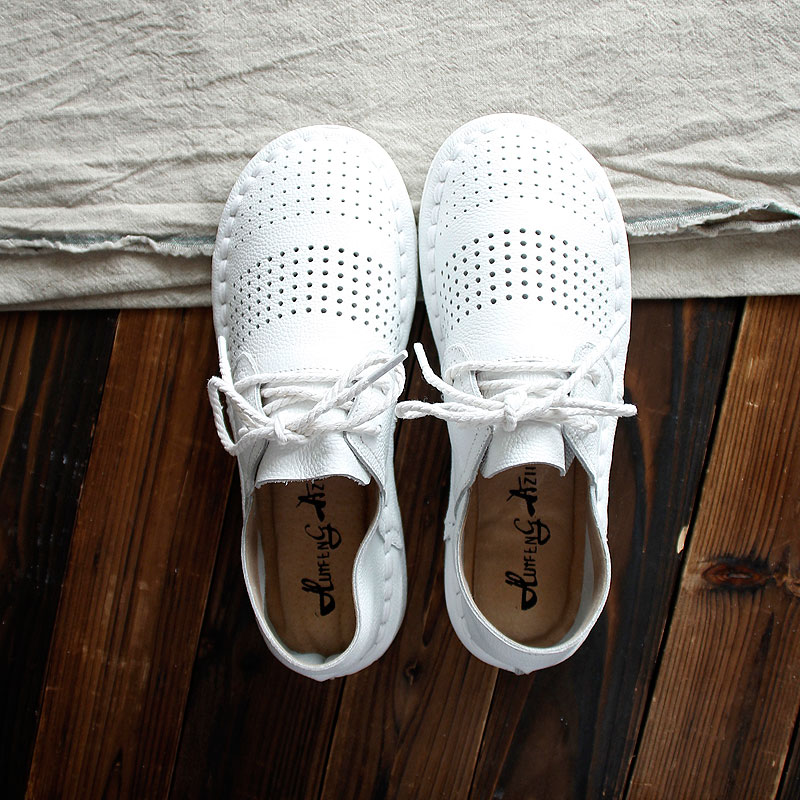 HUIFENGAZURRCS New Genuine leather shoes Pure handmade flats shoes the retro art mori girl shoes Simple white shoes any colors in Women 39 s Flats from Shoes