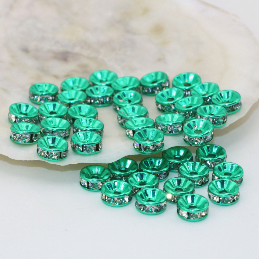 High quality rhinestone inlay rondelle abacus green spacer beads 6 8 10  12mm 30pcs wholesale jewelry findings accessories B2813 20dff6a004b1