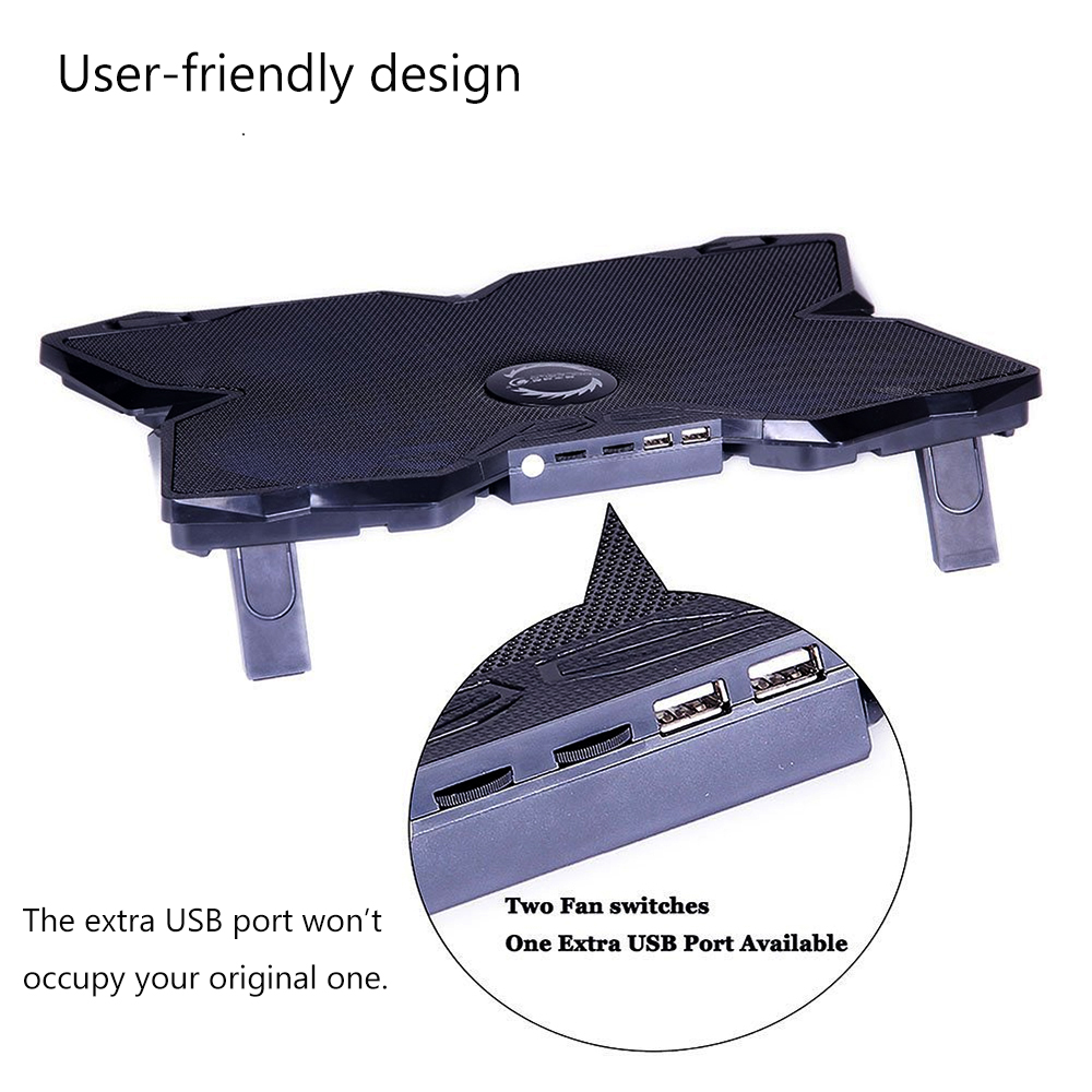 Powerful USB Powered Slim Flat Notebook Laptop Cooler Cooling Pad Radiator LED Four Fans for 17inch Laptop Computer PC Gaming