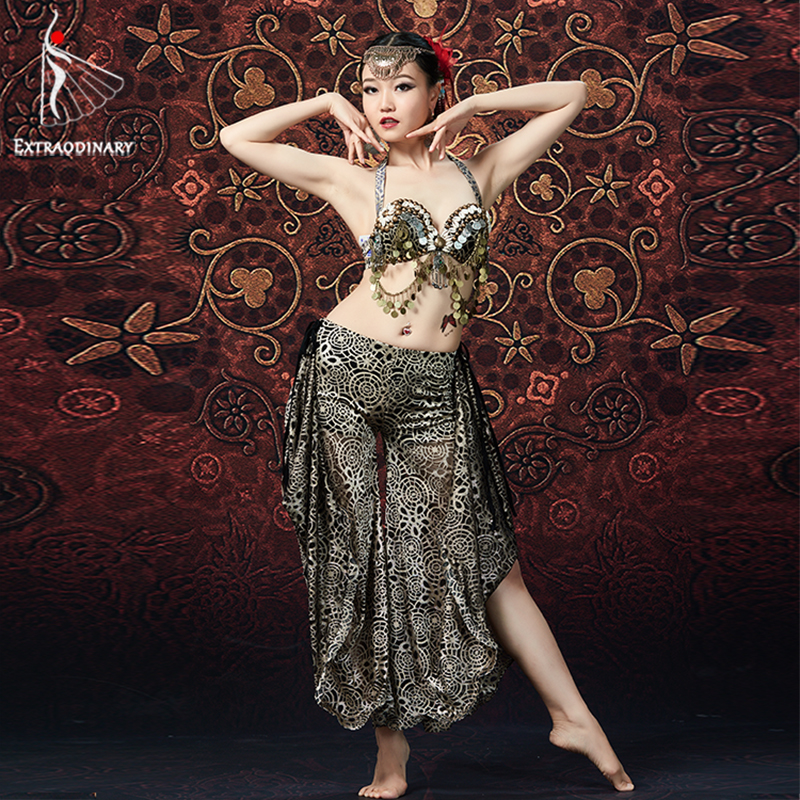 ATS Women Tribal Belly Dance Bra And Pant Chain Metallic Vintage Coins Gypsy Dance Tops Flare Trousers 2pcs Set Costumes