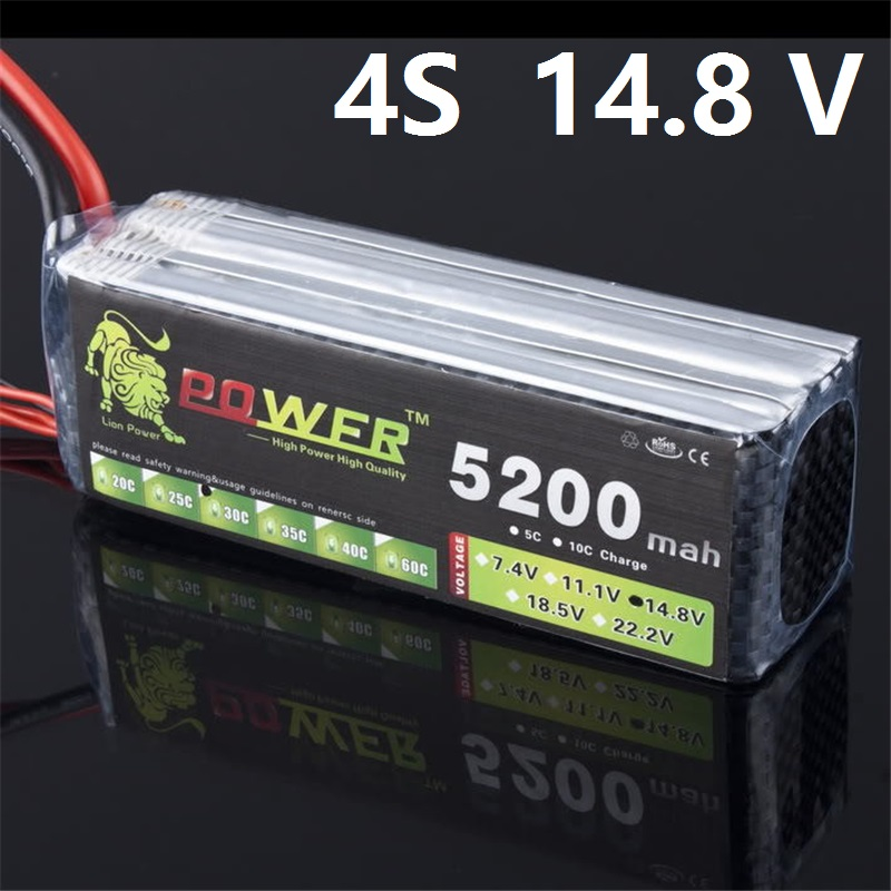 Efficient Energy LION POWER 14.8v <font><b>5200mah</b></font> 30c XT60 Plug RC Halicopter Car RC Boat Quadcopter Remote Controul toys <font><b>4s</b></font> Battey image