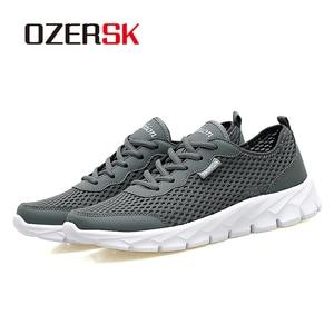 Image 4 - OZERSK الرجال أحذية رياضية الصيف حذاء كاجوال تنفس الرجال شبكة خارجية أحذية الرجال الدانتيل يصل أحذية خفيفة البحرية السوداء حجم كبير 39 48