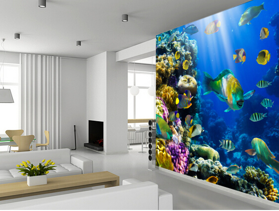 Custom live fish wallpaper.Coral Colony and Coral Fish.3D murals for living room bedroom kitchen wall waterproof vinyl wallpaper fish and chips