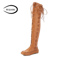 New Vintage Rome Western Style Tall Tube Boots Women Straps Flat Boots Over The Knee Boots