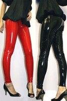 Livraison gratuite femmes plus taille sexy noir wet look pvc pantalon leggings M L XL 2XL