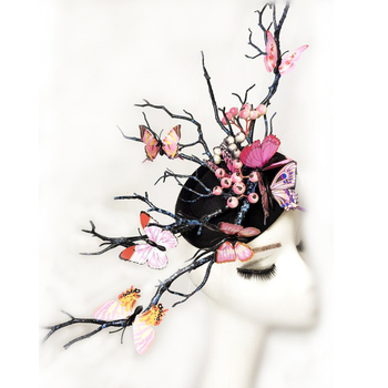 Ladies Fascinator Headpiece Wedding Party Mini Top Hat Handmade Gothic Antler Butterfly Headdress Tree Branches Hair Accessories
