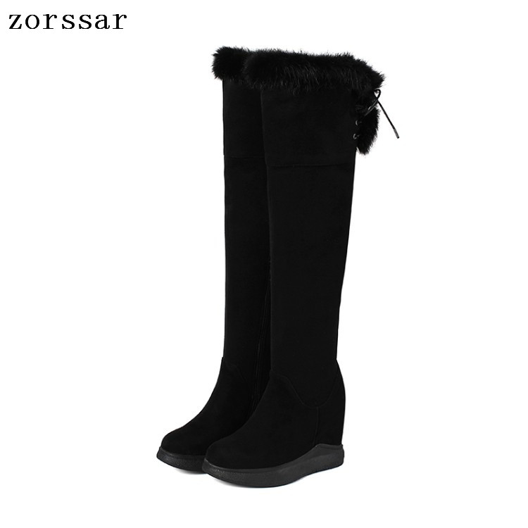 {Zorssar} Winter women snow boots suede Leather height increasing women shoes high heel Over the knee boots Platform wedge boots zorssar 2017 new winter female shoes suede platform height increasing ankle snow boots fashion buckle high heels women boots