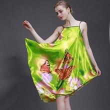 SSH001 High Quality Silk Nightgown Women Sexy Spaghetti Strap Flower Lingerie Dress Sleepwear Sleepshirt Long Nightgown Women