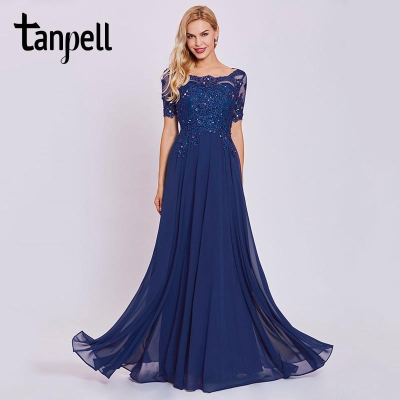 Tanpell dark royal blue long evening dress lace beaded o neck short sleeves  ankle length dress women formal prom evening dresses