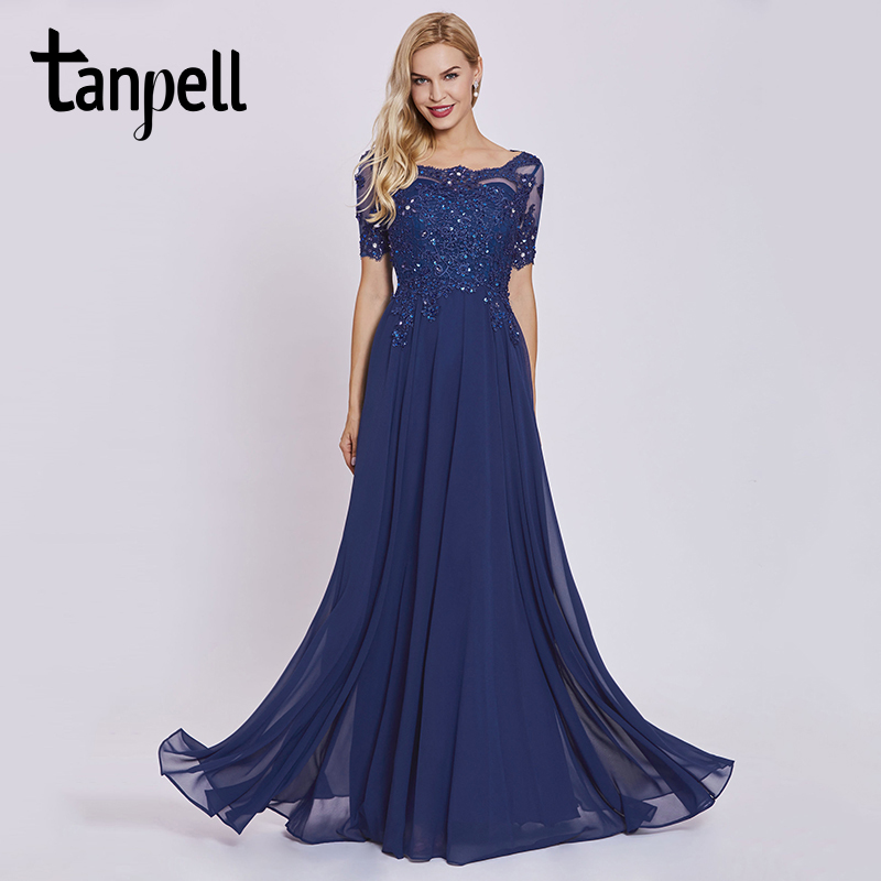 Tanpell dark royal blue long   evening     dress   lace beaded o neck short sleeves ankle length   dress   women formal prom   evening     dresses