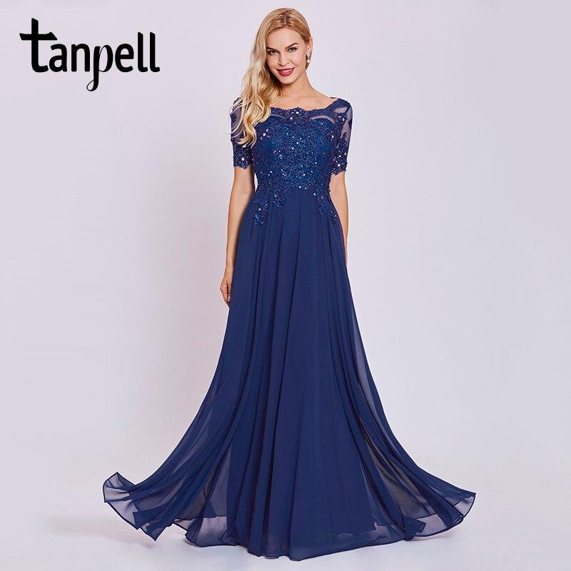 3bf2066f0f Tanpell oscuro azul real largo vestido de noche de encaje con cuentas de  cuello o manga corta mujeres del vestido de la longitud del tobillo formal  noche de ...